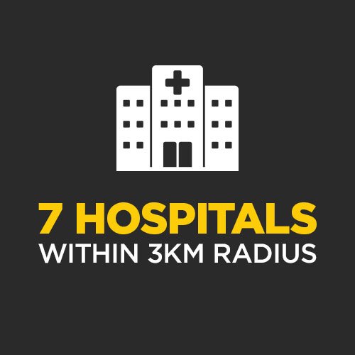 There are 7 Hospitals within 3km radius – 3,146 Beds, 19,000+ Staff
