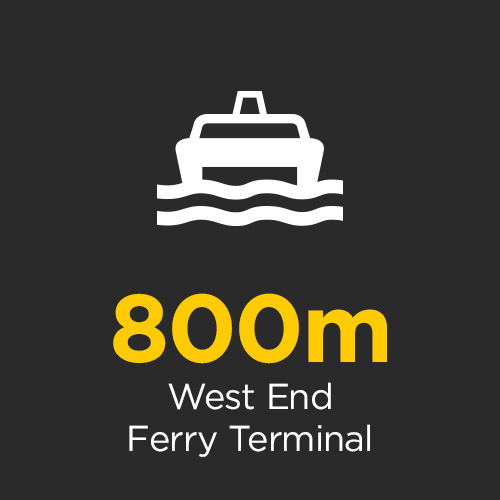 The West End Ferry Terminal is less than 800m from your door