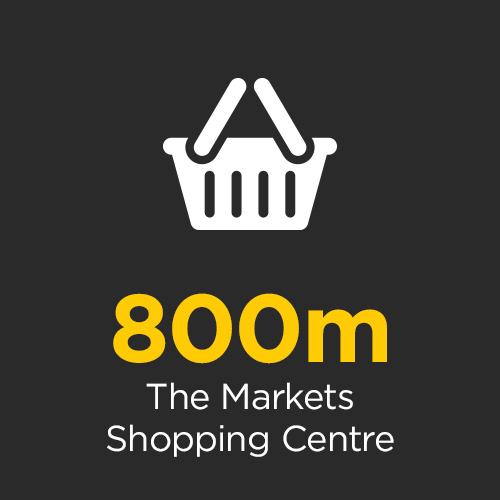 The Markets Shopping Centre is located a convenient 800m away
